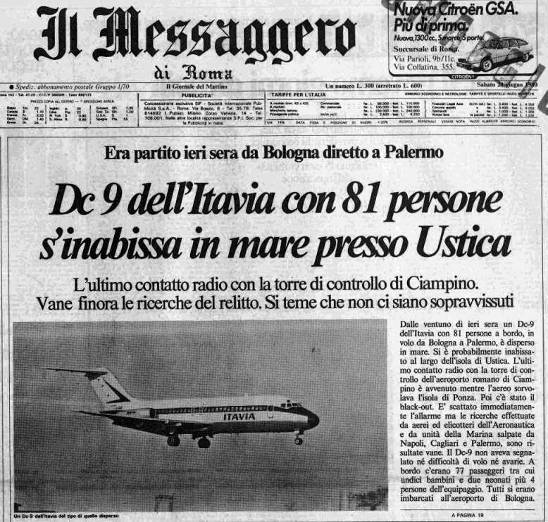 Firme false e oscuri decessi dopo la strage del DC9 di Ustica ...
