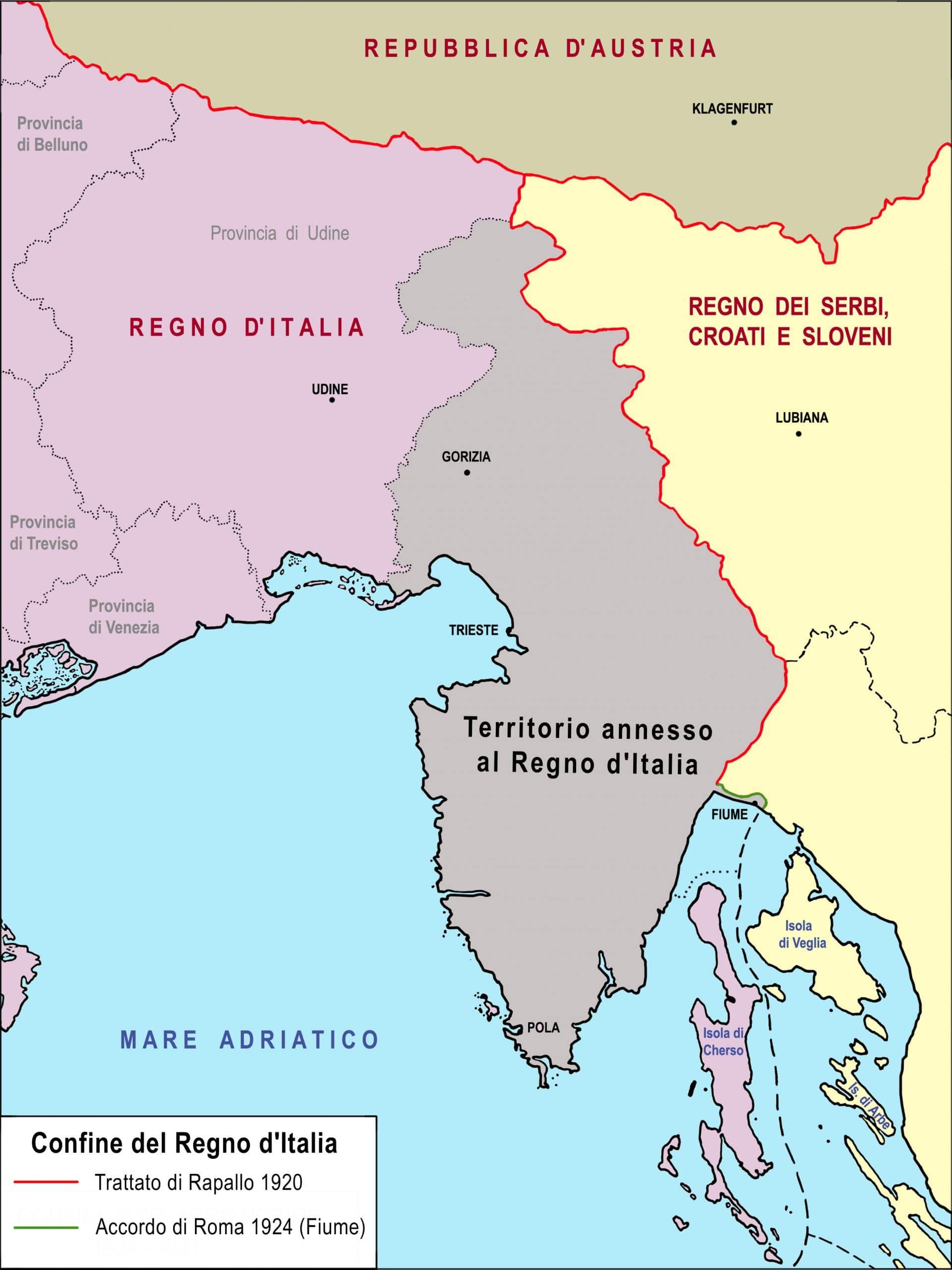 narodni dom Cartina del confine orientale italiano 1915 e 1920