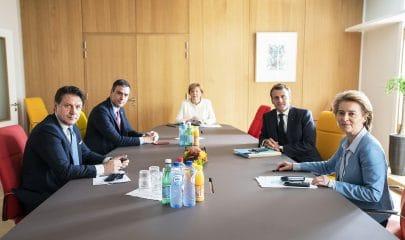Pedro Sanchez Angela Merkel Emmanuel Macron e Ursula von der Leyen