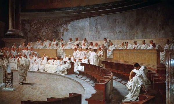 Cesare Maccari, Senato romano, Cicerone denuncia Catilina