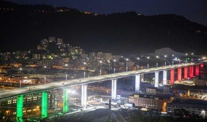 Viadotto Genova-San Giorgio, ex Ponte Morandi. Foto Imagoeconomica